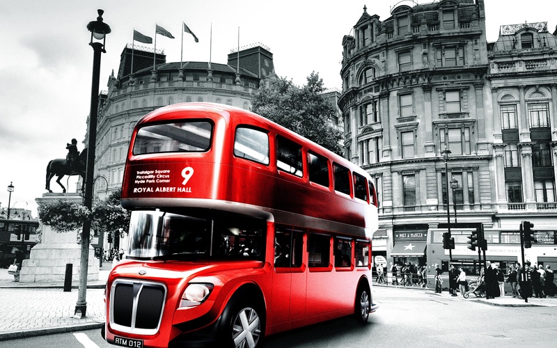 London, black and white, bus, england