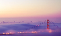 San francisco, огни, туман, golden gate bridge, сан франциско