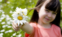 beautiful, sunflower, Romantic little girl, child, smile, children, flower, ...