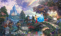 art, Cinderella wishes upon a dream, walt disney, painting, animated, film, ...