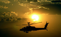 sunset, �����, Helicopter, apache, ��������