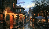 street, Magic evening, umbrellas, evening, cafe, bar, painting, eugeny lush ...