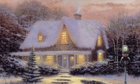 cottage, Thomas kinkade, christmas, christmas eve, ���������, �����, ������ ...
