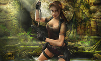 Tomb raider legend, лара крофт, girl, guns, game wallpapers, skulls, ruins, ...
