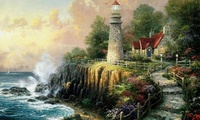 art, sea, thomas kinkade, painting, The light of peace, house, lighthouse,  ...