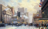 1932, snow, art, snow on seventh avenue, winter, Thomas kinkade, street, ci ...