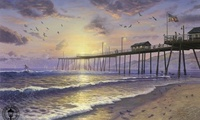 surfing, thomas kinkade, Footprints in sand, beach, usa, sunset, sand, flag ...