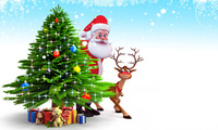 reindeer, ���������, christmas tree, new year, snow, gifts, santa claus, Ch ...