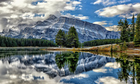 canada, vermillion lakes, Mount rundle, banff national park, alberta, озёра ...