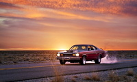 дорога, muscle car, Plymouth duster, закат