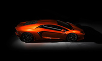 aventador, Lamborghini, orange, lp-700, dark, side view
