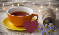 tea, bouquet, чашка, love, flowers, holiday, table, heart, Drink, lights, н ...
