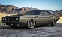 плимут, матовый, горы, Plymouth, muscle car, barracuda, front, мускул кар