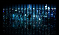 вид, город, The dark knight, new york city, окно, window to gotham city, но ...