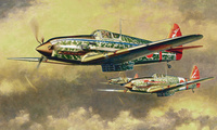 ww2, painting, japanese aircraft, art, war, japanese fighter, Kawasaki ki-6 ...