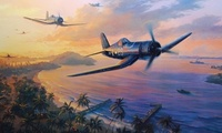 art, drawing, dogfight, ww2, war, aircraft, airplane, painting, pacific war ...