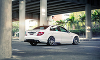 bridge, white, palm, Mercedes, tuning, wheels, street, c63, mercedes-benz,  ...