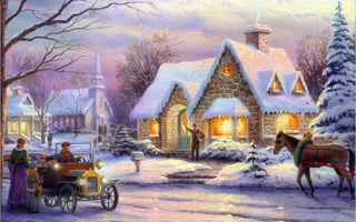 christmas, snow, horse, winter, Thomas kinkade, cottage, art, memories of christmas, painting