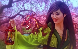 china, animated film, girl, fantasy, walt disney, donatella drago, dragon, fanart, princess, Mulan
