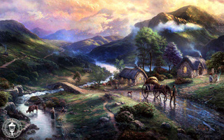 bridge, art, lake, Emeraldvalley, dog, animals, paintig, thomas kinkade, horse, mountains, houses