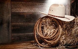 rope, Wall, straw, cowboy, white hat, wood
