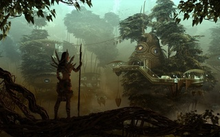 hunter, city, girl, forest, охотница, Fantasy, rendering, девушка, лес, evening