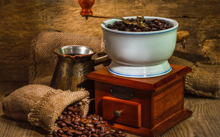 coffee, Machine for grinding coffee, coffee, bags, wood beads, wall