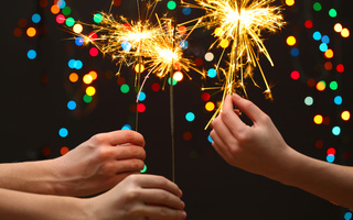 new year, bokeh, celebrate, little girls, hands, Merry christmas, lights, sparklers, kids