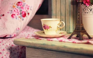 coffee, bouquet, france, flowers, home, кофе, чай, дом, tea, Cup, eiffel tower, drink