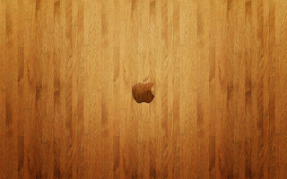 wood, wall, apple, Logo