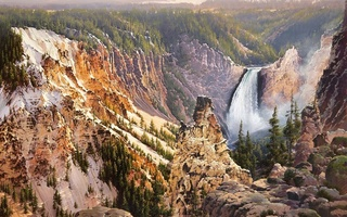 power and grace lower falls of the yellowstone, живопись, Bruce cheever, природа
