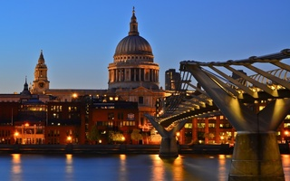 london, англия, St pauls cathedral, millennium bridge, thames, twilight, uk, england