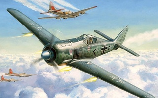 Fw 190, combat, war, ww2, concept art, b 17 dogfight, drawing, painting, aviation, art