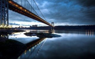 manhattan, George washington bridge, hudson river, new jersey